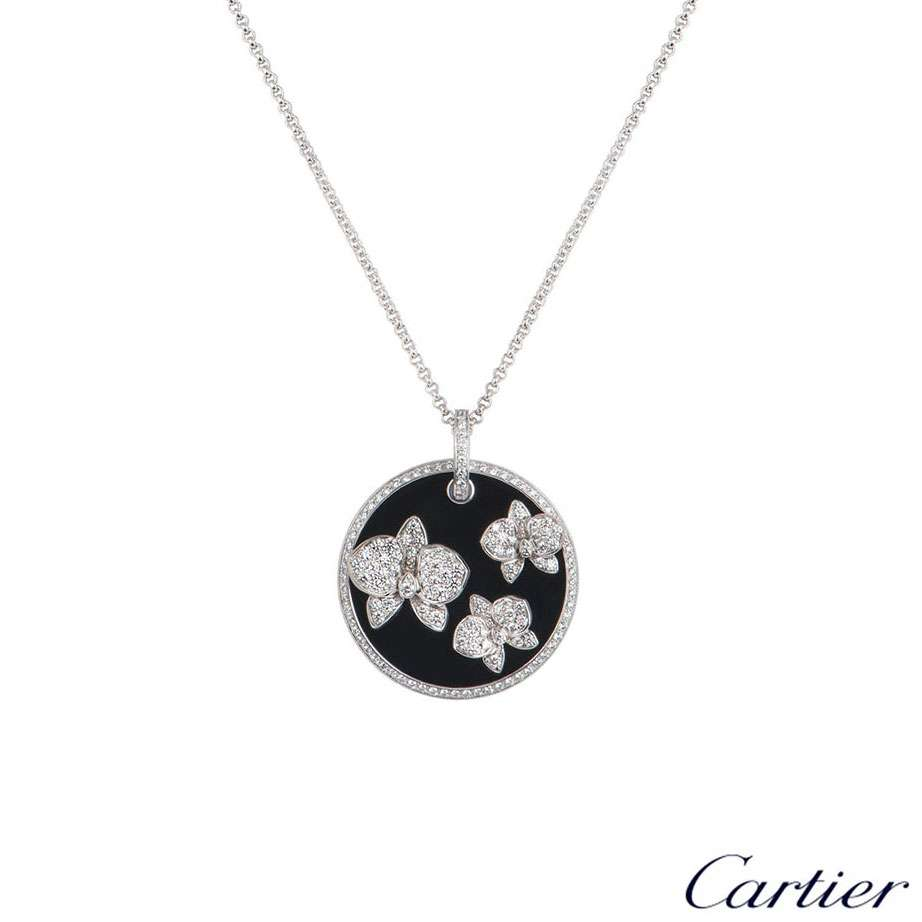 Cartier White Gold Diamond And Onyx D'Orchidees Pendant N7067800